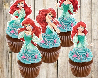 6 Printable Little Mermaid, Ariel Cupcake Toppers, INSTANT DOWNLOAD