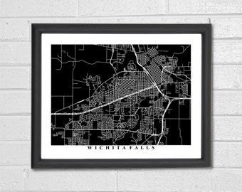 Wichita Falls Map Art - Map Print - Black and White Print - Texas - Hometown- Home Decor - Personalized - Custom - Travel Gift Housewarming
