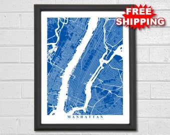 Manhattan Map Art - Map Print - City Map Art - New York - NYC - NY - Manhattan - Wedding Gift Housewarming Gift Anniversary Gift New Home