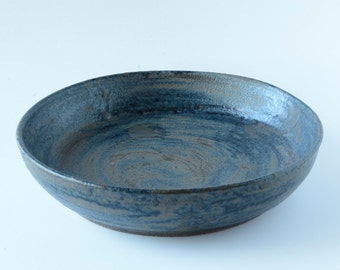 Blue grey ash glaze deep plate