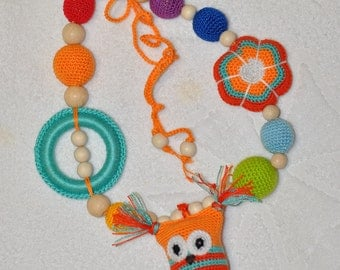 Baby toy - Necklace with owl - Teething necklace - Nursing necklace for Mommy - cotton yarn wood beads