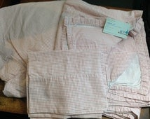 TWIN Fitted Sheet Set Ralph Lauren Beach House PINK/Mauve Gingham Check  pre-owned
