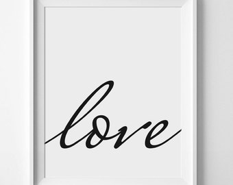 Typography Print, Love Wall Art, Typography Poster, Printable Quotes, Modern Print, Love Print, Scandinavian Poster, Typography, Love Art