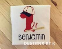 Baseball theme 1st birthday shirt, Baseball birthday shirt, Personalized 1st birthday shirt, Sports theme birthday, Baseball birthday