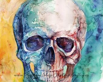 Original painting skull, watercolor painting, watercolor original, watercolor art, wall art, skull art, watercolor skull, wall decor
