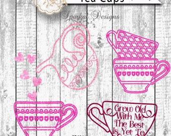 Valentine Typography, Tea Kettle, Tea Cup, Tea Pot, Hearts, Grow Old with Me, The Best is Yet to Be Great with HTV Glitter, Vinyl stencils
