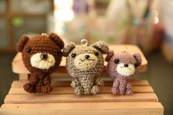Amigurumi Penguin Cell Phone Strap : Amigurumi bearKeychain strap. cellphone strap. Crochet bear.