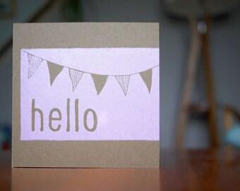 Hand printed lino print card - Original print - Say 'hello'