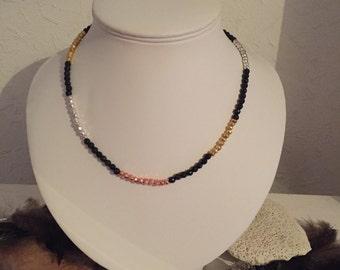 Metallic necklace, gemstone necklace