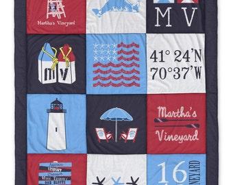 Martha's Vineyard Navy Destination Blanket