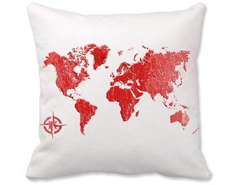 World Map Pillow - World Map Decor - World Pillow - Map Pillow - World Map Decor - Travel Decor - Map Throw Pillow