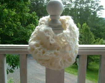 25 PERCENT OFF- Cream Fluffy / Furry Infinity Scarf – Hand Crocheted – Acrylic Wool Blend