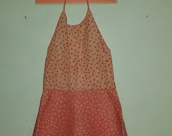 """Dress pink and liberty printed Halter """"french Vintage 60's-70s '"""" dress that turns / new old Stock / size 5 years """""""""""