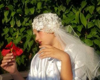 Wedding, Juliet cap, Vintage wedding veil, Gatsby inspired, Wedding Veil Cap, 1920s bridal style.