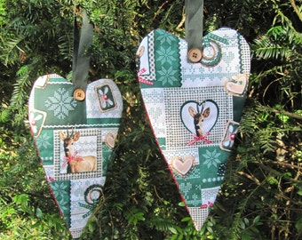 SET of 2 Christmas hangers , Home decoration, Wreath, Christmas in handmade, patchwork, woodland decoration, Christmas in July
