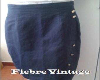 MINI short SKIRT Navy Blue linen skirt pareo gold buttons 90 marinera