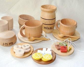 Teatime set. Wooden play kitchen set. Wooden toys.