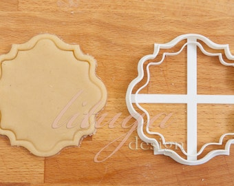 Plaque cookie cutter, Vintage frame cookie cutter (No.4) -  can be personalised