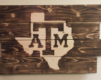 Small Texas A&M football man cave wood sign 21x14