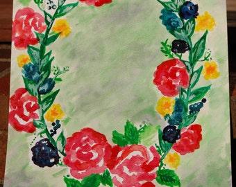Floral Wreath Original Watercolor Painting