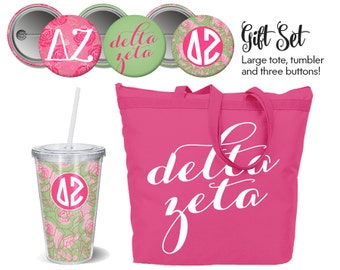 DZ Delta Zeta // Sorority Gift Set // Includes Tote, Tumbler and Buttons