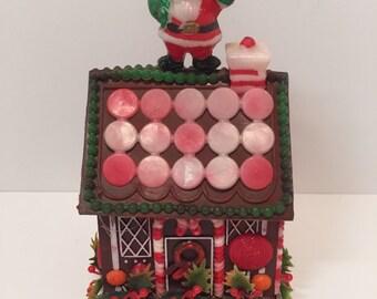 Vintage plastic gingerbread house christmas ornament