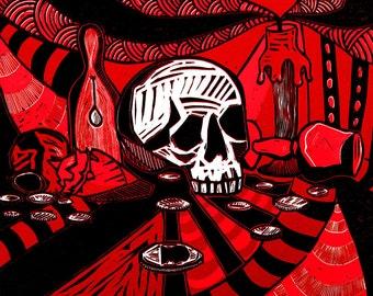 Vanitas Still Life Reduction Linocut 2014, Red and Black, (Edition of 6)