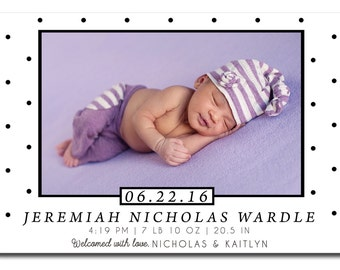 Baby Birth Announcement - Birth Announcement Magnets, Welcome Baby, Baby Girl, Baby Boy, Personalized Photo Magnets, Baby Keepsakes