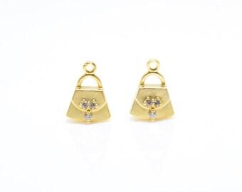 Cubic Handbag Pendant . Handbag Charm . Tote Bag Pendant . Cubic Zirconia . 16K Matte Gold Plated over Brass - 2pcs / RG0014-MG