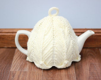 cream tea cosy, lacey tea cozy, knitted tea cozy, knitted tea cosy, tea pot cosy