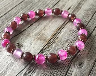 Gemstone woman bracelet, Bohemian bracelet, beaded stretch stacking bracelet, Woman gemstone jewelery, summer bracelet, Woman handmade gift