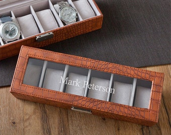 watch case for men personalized mens watch box brown crocodile leather watch case mens jewelry box accessory storage container