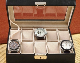 mens watch box personalized mens jewelry box black leather watch case watch box mens accessory storage container