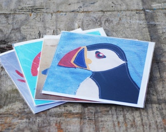 Set of four Greetings Cards Printed from Original Applique Designs