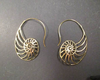 Earrings spiral earrings brass Nautilus