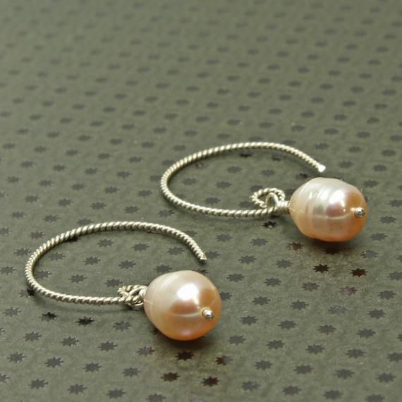 Pearl Dangle Earrings, Pink/Peach Freshwater Drops, Sterling Silver Twist Hoop Ear Wire