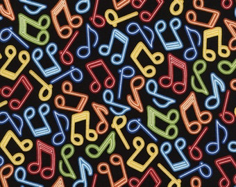 Music - Neon Music Notes Fabric - Brite - sold by the 1/2 yard