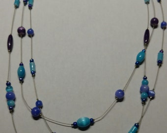 Purple and blue wire necklace