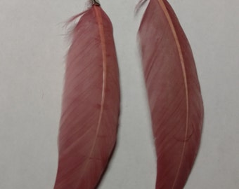 Dark pink feather earring