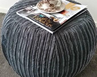 ottoman pouf, grey velvet pouf, charcoal round pouf, beanbag pouf, bean bag ottoman, charcoal floor cushion, grey ottoman pouf, grey pouffe