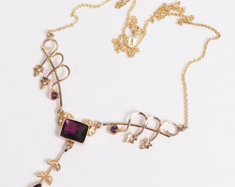 Old Vintage 10K & 14K Yellow GOLD Necklace with Purple stones and PEARLS (6.5g)