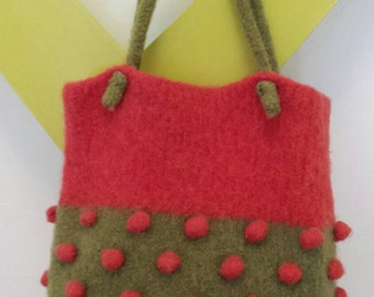 Hand Felted Wool Pink and Green Pom Pom Purse Tote Bag Retro Gift