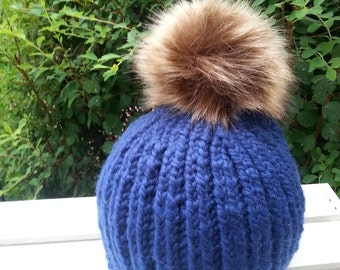 Girls handmade blue hat with fur racoon hat Fur Pom Pom Hat-ready to ship