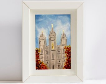 Salt Lake Temple - Acrylic & Gold Leafing - Original Painting - Flat Canvas Panel - Multiple Sizes - LDS art