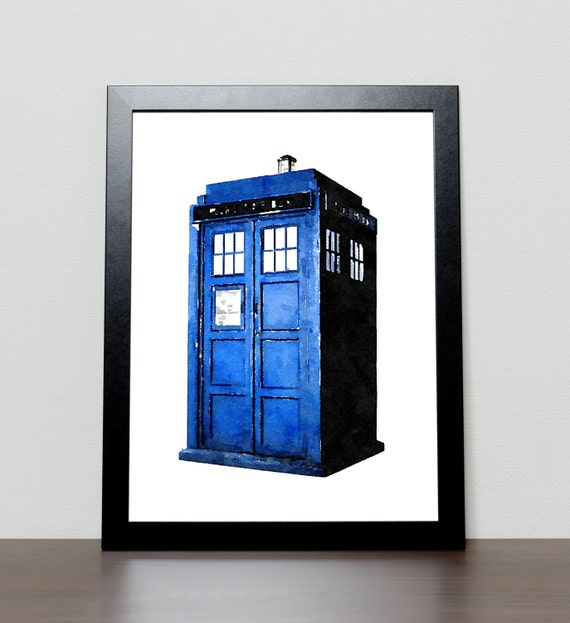 Tardis Doctor Who Watercolor Print Wall Art By Crownprintables