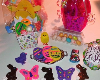"""Happy Easter Basket filled with Cookies, Chocolate Bunnies, Easter Eggs, Grass and More! For American Girl 18"""" Doll"""