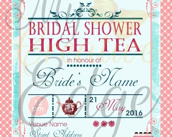 Digital Bridal Shower - High Tea Invitation - Floral