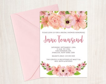 Floral bridal shower invitation, floral bridal shower, printable bridal shower invitation, bridal shower invitation, bridal shower invite