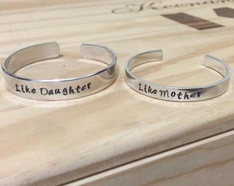 Like Mother Like Daughter Hand Stamped Cuff Bracelet Set, mom and daughter matching bracelets, Mother's Day jewelry, Mother's Day gift