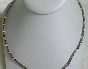 Brown Bicone Crystal Beaded Necklace